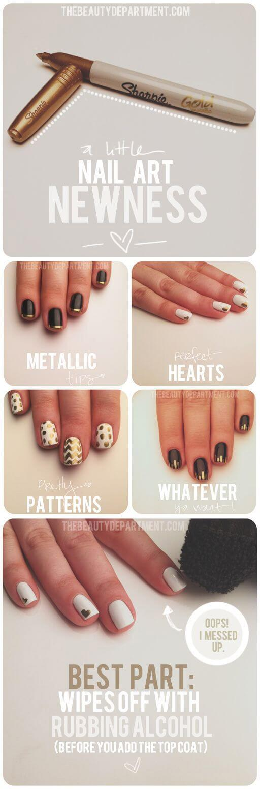 Easy metallic nail art with sharpies - DIY nail guides, tips & hacks from pinterest