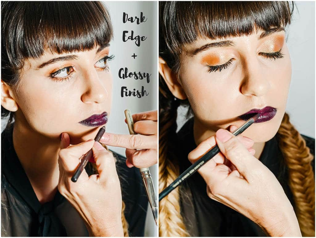 Copper Eyes & Vampy Lips - Step by step makeup tutorial for the hottest makeup tends this winter - copper eyelids and dark lips