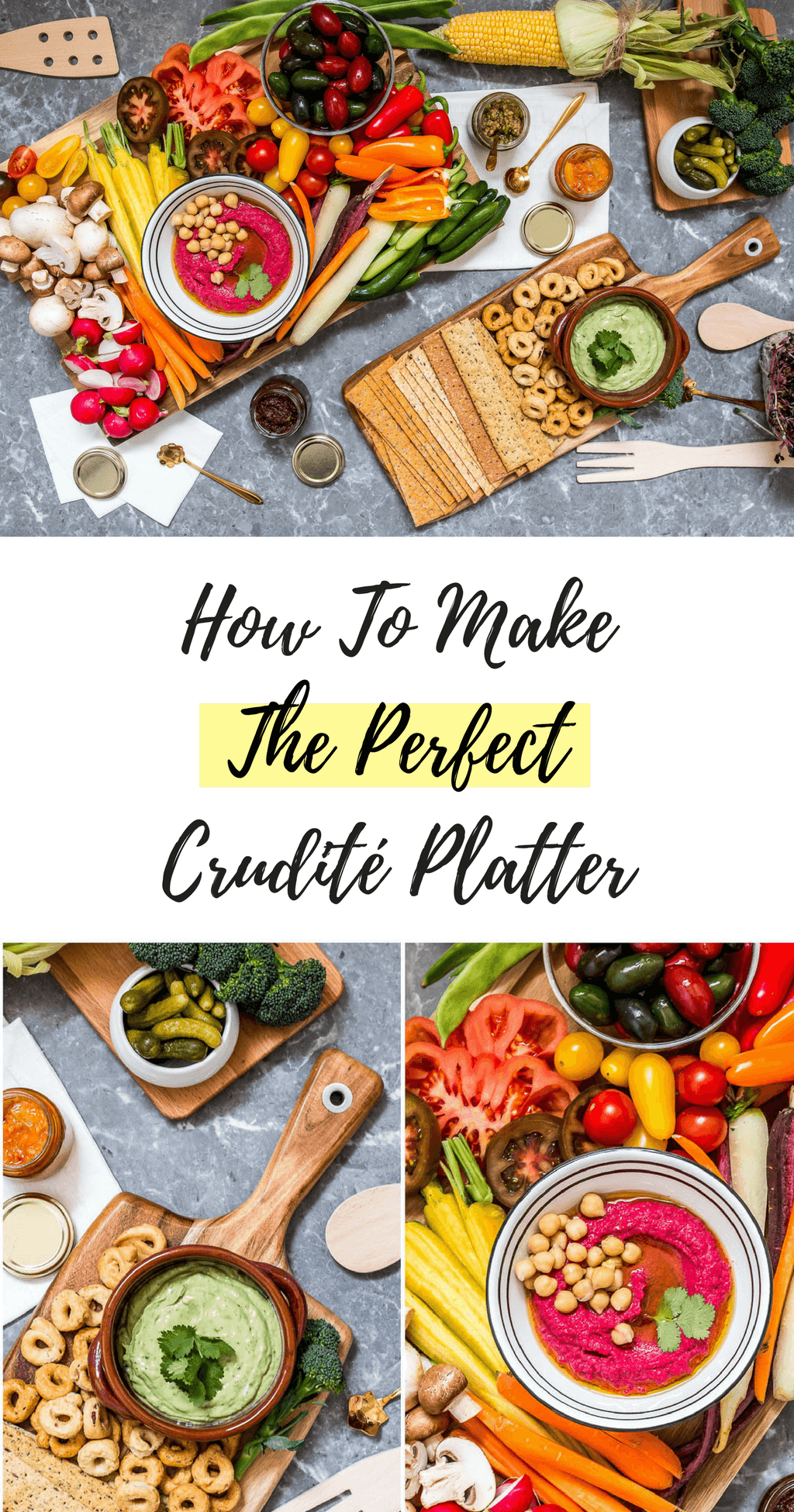 Learn How To Assemble The Most Gorgeous Crudité Platter! Fresh veggies, homemade healthy dips {beet hummus and avo-yogurt !} and healthy carbs! Click through for the full article featuring a step by step video tutorial @ hedonistit.com
