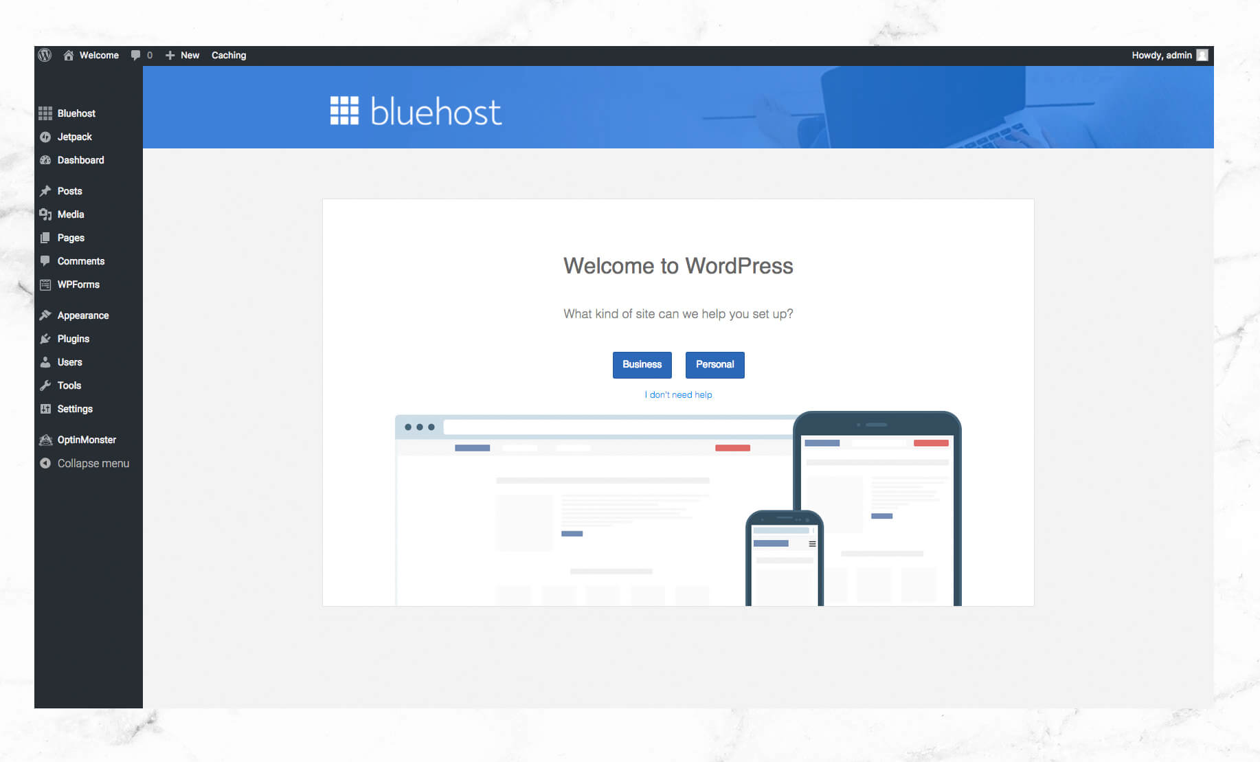 On the next screen you may choose between a business or personal website in  order to receive help and support from WordPress. If you're not interested,  ...