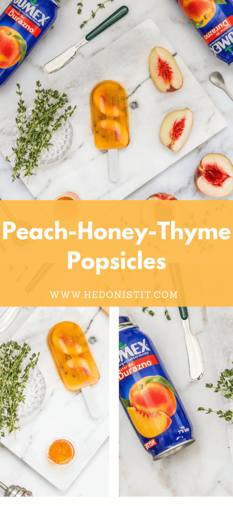 Cool off during the summer with these homemade, healthy & easy to make peace honey and thyme gourmet popsicle recipes