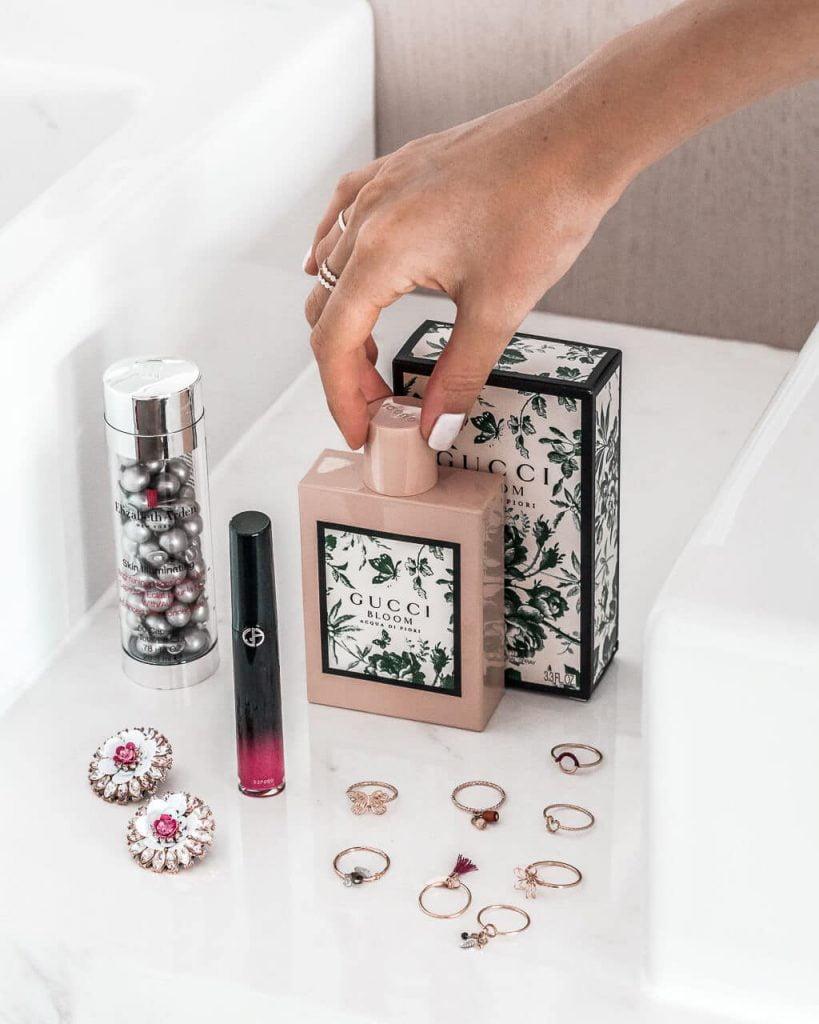 Gucci Bloom Acqua di Fiori | Elizabeth Arden / Skin Illuminating Brightening Night Capsules | Giorgio Armani / Ecstasy Lacquer Liquid Lipstick | Beauty products review