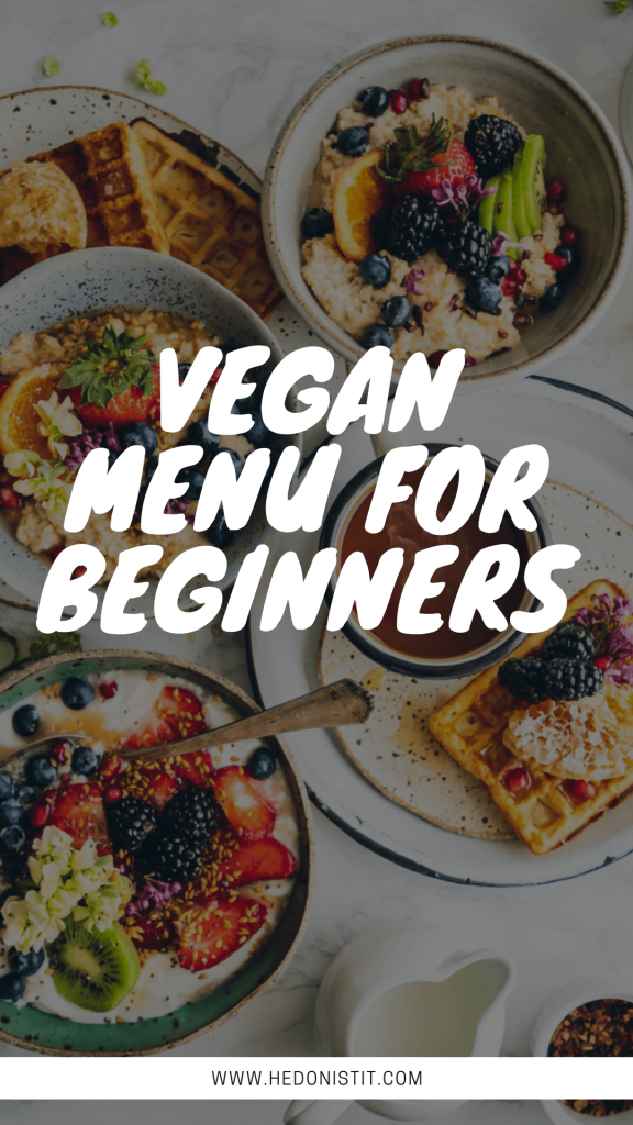 Easy vegan recipes for beginners - 1 Day meal plan for breakfast, lunch and dinner